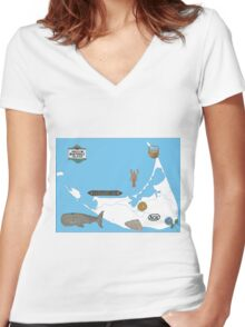 Nantucket Blue Map with Hand-Painted Vintage Sign, Whale, Basket and Quarterboard Women's Fitted V-Neck T-Shirt
