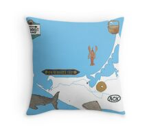 Nantucket Blue Map with Hand-Painted Vintage Sign, Whale, Basket and Quarterboard Throw Pillow