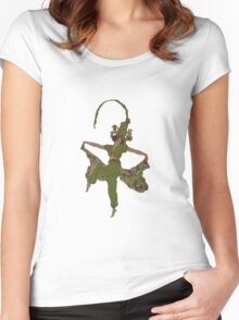 Art Nouveau Asparagus Hat Women's Fitted Scoop T-Shirt