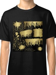 Gold spalter,hand painted,gold on black,abstract,contemporary Classic T-Shirt