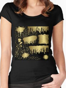 Gold spalter,hand painted,gold on black,abstract,contemporary Women's Fitted Scoop T-Shirt