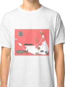 Nantucket Red Map with Hand-Painted Vintage Sign, Whale, Basket and Quarterboard Classic T-Shirt