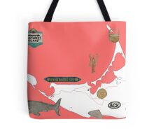 Nantucket Red Map with Hand-Painted Vintage Sign, Whale, Basket and Quarterboard Tote Bag