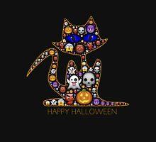 Happy Halloween Cat Emoji Shirt with Ghosts Monsters Skulls Unisex T-Shirt