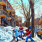STREET HOCKEY GAME VERDUN MONTREAL MEMORIES WINTER CITY SCENE PAINTINGS  by Carole  Spandau