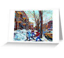 STREET HOCKEY GAME VERDUN MONTREAL MEMORIES WINTER CITY SCENE PAINTINGS  Greeting Card