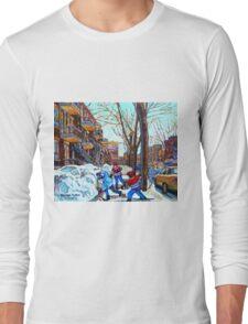 STREET HOCKEY GAME VERDUN MONTREAL MEMORIES WINTER CITY SCENE PAINTINGS  Long Sleeve T-Shirt