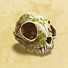 cat skull painted with wasabi flowers by Richard Morden