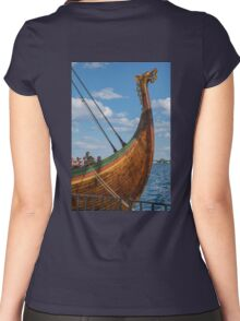 The Beautifully Carved Prow of the Draken Harald Harfragre Women's Fitted Scoop T-Shirt