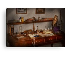 Doctor - Vet - The desk of a Veterinarian Canvas Print