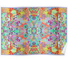 Compass Multi-colour Bold Organic Living Art Design Fractal (Framed) Poster