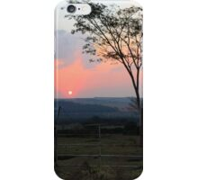 sunset with silhouetted tree and dust iPhone Case/Skin