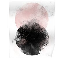 Abstract Watercolor circles pink and black Poster