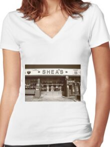 Route 66 - Shea's Filling Station Women's Fitted V-Neck T-Shirt