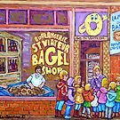 ST.VIATEUR BAGEL WITH CHILDREN MONTREAL STREET SCENE PAINTING by Carole  Spandau
