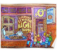 ST.VIATEUR BAGEL WITH CHILDREN MONTREAL STREET SCENE PAINTING Poster