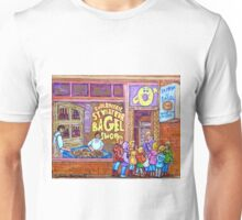 ST.VIATEUR BAGEL WITH CHILDREN MONTREAL STREET SCENE PAINTING Unisex T-Shirt