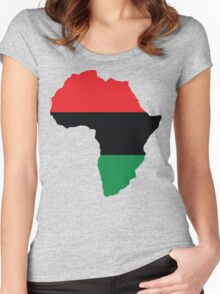 Red, Black & Green Africa Flag Women's Fitted Scoop T-Shirt