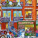 CAPLAN CORNER GROCERY STORE STREET HOCKEY ART WINTER STAIRCASE SCENE  by Carole  Spandau