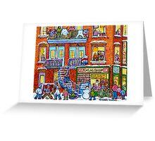 CAPLAN CORNER GROCERY STORE STREET HOCKEY ART WINTER STAIRCASE SCENE  Greeting Card