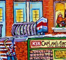 CAPLAN CORNER GROCERY STORE STREET HOCKEY ART WINTER STAIRCASE SCENE  Sticker