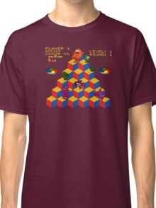 Q*Bert - Video Game, Gamer, Qbert, Orange, Black, Nerd, Geek, Geekery, Nerdy Classic T-Shirt