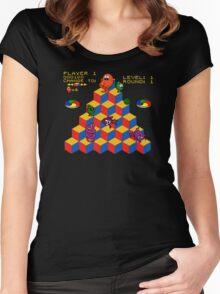 Q*Bert - Video Game, Gamer, Qbert, Orange, Black, Nerd, Geek, Geekery, Nerdy Women's Fitted Scoop T-Shirt