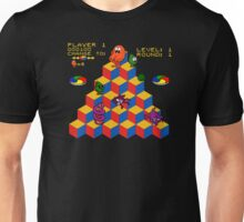 Q*Bert - Video Game, Gamer, Qbert, Orange, Black, Nerd, Geek, Geekery, Nerdy Unisex T-Shirt