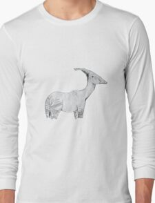 An Okapi-Parasaurolophus  Long Sleeve T-Shirt