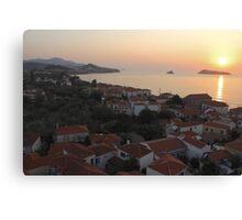 Sunset Over Greek Village Canvas Print