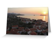 Sunset Over Greek Village Greeting Card