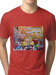 Taxi Stand Vintage Downtown Montreal Stores And Cars Montreal Memories Winter Scenes  Tri-blend T-Shirt