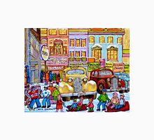 Taxi Stand Vintage Downtown Montreal Stores And Cars Montreal Memories Winter Scenes  Unisex T-Shirt