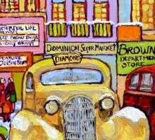 Taxi Stand Vintage Downtown Montreal Stores And Cars Montreal Memories Winter Scenes  Sticker