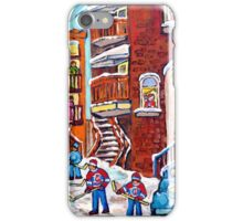 Laneway Hockey Denty Moore Diner Winter Staircase Montreal Memories Canadian Hockey   iPhone Case/Skin
