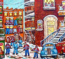 Laneway Hockey Denty Moore Diner Winter Staircase Montreal Memories Canadian Hockey   by Carole  Spandau