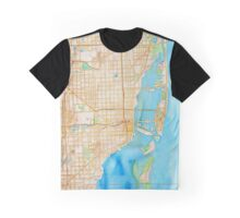 Watercolor map of Miami metropolitan area Graphic T-Shirt
