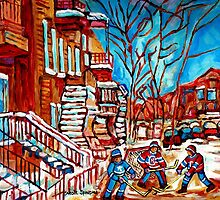 Verdun Montreal Street Hockey Winding Staircase Winter City Scene Montreal Memories  by Carole  Spandau