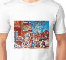 Verdun Montreal Street Hockey Winding Staircase Winter City Scene Montreal Memories  Unisex T-Shirt