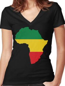 Green, Gold & Red Africa Flag Women's Fitted V-Neck T-Shirt