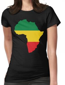 Green, Gold & Red Africa Flag Womens Fitted T-Shirt
