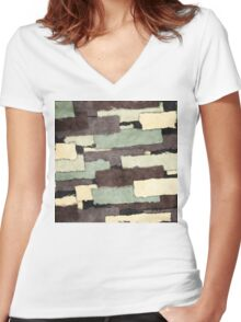 Textured Layers Abstract Women's Fitted V-Neck T-Shirt