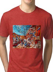 Street Hockey Painting Winter City Scene Verdun Montreal Staircase Canadian Art  Tri-blend T-Shirt