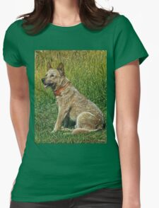 Red-ticked Heeler dog painting Womens Fitted T-Shirt