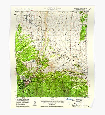 USGS TOPO Map Arizona AZ Prescott 314926 1947 62500 Poster