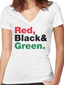 Red, Black & Green. Women's Fitted V-Neck T-Shirt