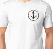 Rainbow nautical rope anchor design Unisex T-Shirt