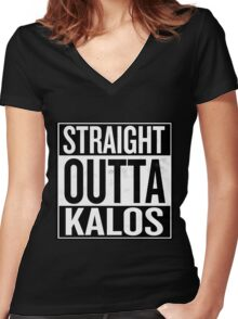 Straight Outta Kalos Women's Fitted V-Neck T-Shirt