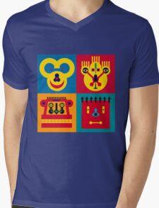 Happy Town Faces 2 Mens V-Neck T-Shirt