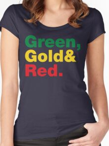 Green, Gold & Red. Women's Fitted Scoop T-Shirt